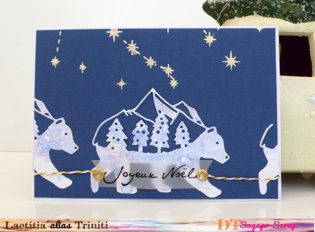 Carte SAgapo Scrap joyeux noel ours polaire